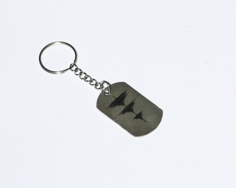 YOUR Waveform Laser Marked on Stainless Steel Rectangular Dog Tag Keychain