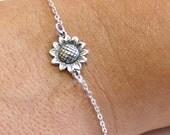 Sterling Silver Sunflower Bracelet, Sunflower Bracelet, Bridesmaid Jewelry, Sunflower Jewelry, Summer Jewelry, sun flower