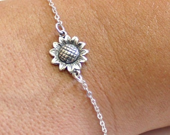 Sunflower Bracelet Sterling Silver, Sunflower Bracelet, Bridesmaid Jewelry, Sunflower Jewelry, Summer Jewelry, Sun Flower