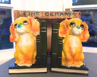 Trimont Ware Japan 1950's ceramic spaniel book-ends in original box