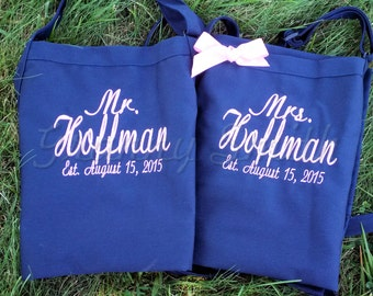 "Matching set of Embroidered Mr & Mrs Aprons. Many colors + fonts. 24""L x 28""W professional 3 pocket full bib. His can be longer!!!"