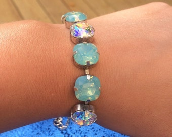 Swarovski bracelet made with cushion cut pacific opal crystals