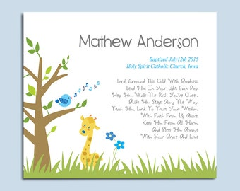 Baby Boy Baptism Gift - Christening Gift - Gift from Godparents - Religious Gift - Personalized Keepsake - Choice of Poems