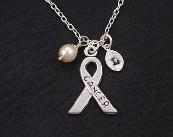 initial necklace, breast cancer necklace, Swarovski pearl choice, silver awareness ribbon charm, breast cancer awareness ribbon, get well