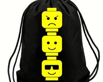 Lego heads gym bag,pe bag,school bag,water resistant drawstring bag.