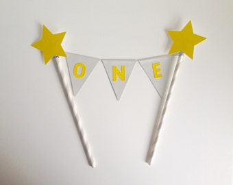 1st Birthday Bunting Cake Topper grey and yellow