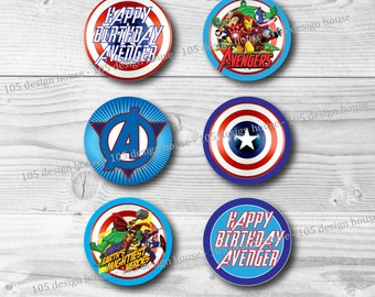 """INSTANT DOWNLOAD Avengers Cupcake Topper Printable 2"""" Cupcake Toppers - Avengers Party Printables - Printable Avengers"""