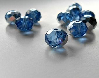 10 Silver Blue Metallic Czech Glass Rondelle, 9x6mm Czech Rondelle, Beads, Supplies