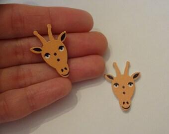 2 pcs giraffe heads wooden buttons 21x30x2.5mm scrapbook children crafts two holes