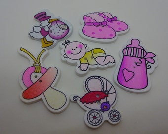 6 pcs new baby wooden buttons pink scrapbook children crafts two holes