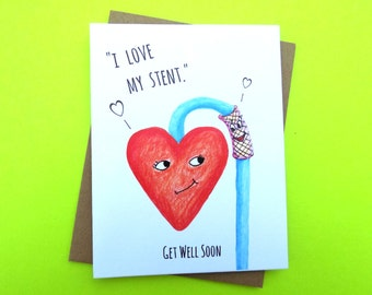 Heart Stent Get Well, Stent Get Well Card, Stent Surgery Card, Heart Surgery Card, Cute Heart Card, Get Well Stent