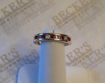 Lovely vintage 14k yellow gold Round Ruby and Diamond Channel Wedding Band Ring, .75 tw, K-SI1-I2, size 8