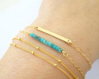 Turquoise Bracelet, Perfect Layering Bracelet, stacking bracelet, birthstone bracelet, bridesmaid bracelet, Dainty turquoise bracelet