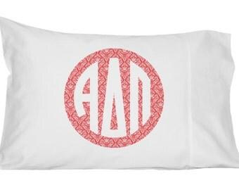 Alpha Delta Pi Monogram Damask Pillowcase