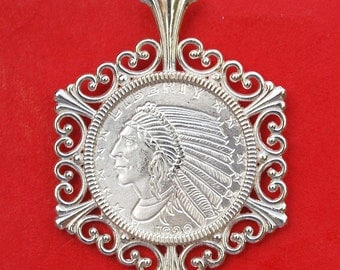 1929 Incuse Indian Head Design 1/10 oz. .999 Fine Silver Round Solid 925 Sterling Silver Necklace NEW