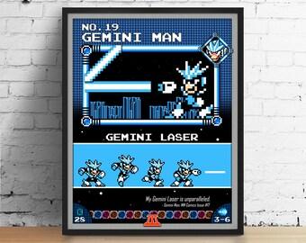 Mega Man poster, Nintendo art, video game poster, classic game print, pixel art, Gemini Man, kids room poster, game room art