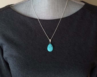 Sterling Silver Turquoise Necklace, Silver Drop Necklace, Turquoise Pendant Necklace, Sterling Silver Pendant Necklace, Boho Necklace