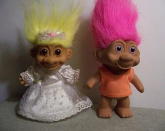 Vintage 1990s Russ 5 Inch Bride Troll Doll/ TNT 5 Inch Troll Doll