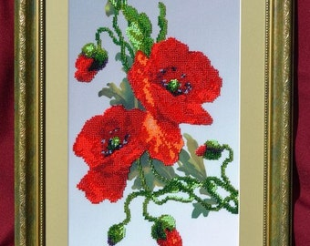"""Pictures embroidered with beads """"Poppies"""""""