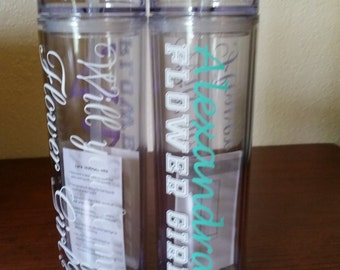 Will you by my Bridesmaid/Maid of Honor/Flower Girl Tumbler, Bridesmaid Tumbler, Customized 16 oz Skinny Acrylic Tumbler Water bottle
