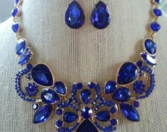 Cobalt Royal Blue Rhinestone Bib Statement Necklace and Earring Set... Wedding / Prom / Evening / Bridesmaid