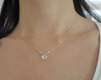 Beryl stone pendant and gold-filled chain pendant necklace with tiny freshwater pearls