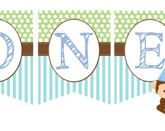 "1st First Birthday Monkey ""ONE"" bunting banner"