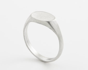 Silver stamp ring made with sterling silver. Minimalist stamp ring. brushed finish