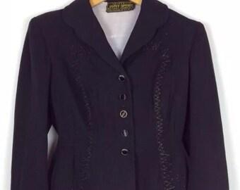 Vtg Antique 1930s French Black Ladies Jacket Coat Steampunk