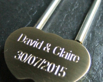 Engraved Solid Brass LoveLock/ Love Lock Personalised Padlock (Small - 36mm)