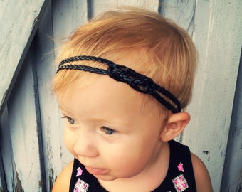 Black braided childrens and baby headband, black baby headband, black little girls headband, boho headband, braided headband for kids