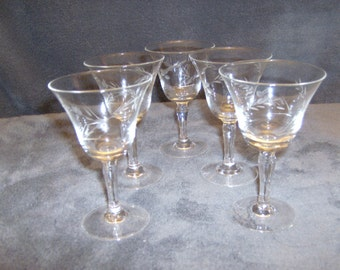 25% OFF Cordial/Sherry 2 0z. Crystal Etched Stemware  Set of 5