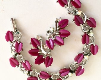 Vintage Bracelet & Earring thermostat Set magenta with AB Rhinestone accents