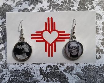 Bride of Frankenstein/Frankenstein earrings