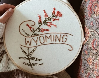 "Wyoming - Indian Paintbrush 9"" Hoop"