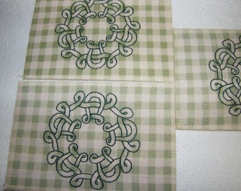 Embroidered Green Plaid Celtic Knots Fabric Post Cards, set of 3, Meets USPS specs