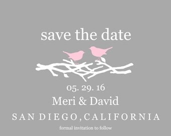Love Birds Save The Date Card/ Birds Save The Date/ Modern Save The Date Card