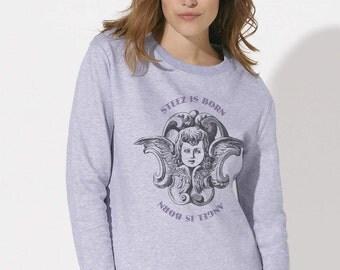 Woman sweatshirt organic fair trade cotton melange Lilac Printed Angel