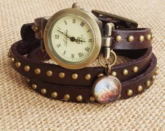 Wrap Watch Bracelet Watch Wrist Watch Woman watch Vintage Watch Bracelet dark brown watch Girld gift Anniversary gift  Galaxy watchfrien