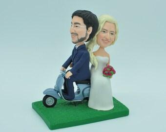Bride & Groom on Vespa Custom Made Wedding Cake Topper