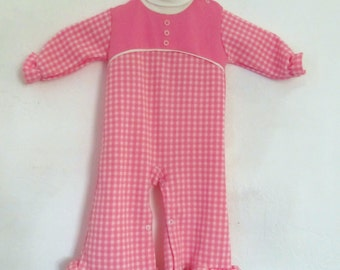 An Adorable Little Late 50's,Pink GINGHAM ONESIE With Ruffles BELLS By Doe-Spun.6-9mo