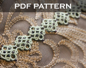 Tatting lace bracelet pdf pattern (Medieval tile)