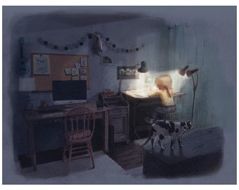 Workspace and cat friend at night | Art print giclee | Illustration