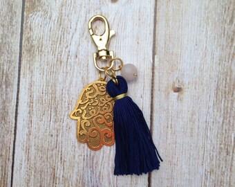 Hamsa Charm Keychain or Purse Accessory - Agate Bead and Tassle