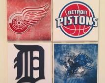 Coasters- Handmade Ceramic Coasters Set of 4- Detroit's Professional Sports Teams- Red Wings- Detroit Pistons- Detroit Tigers- Detroit Lions
