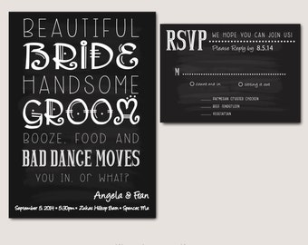 Black and White fun wedding invitation - Digital Download, fully customizable