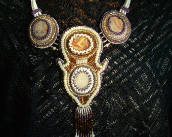 Beaded Necklase Beige/Brown/White Multicolor Beadwork Necklace Jasper Necklace