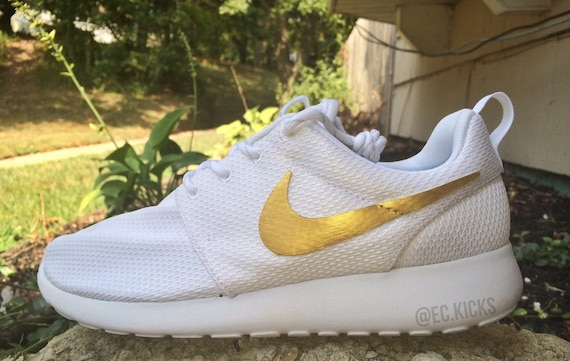 Roshe Run White And Gold patchworkgarden-shop.co.uk
