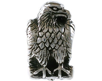 Detailed Eagle Large Hole Sterling Silver Bead - Patriotic Bird of Prey - Compatible with ALL Popular Bracelet Brands-Made in USA-Item 13599