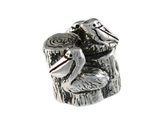 Trio of Pelicans Large Hole Sterling Silver Bead - Compatible with ALL Popular Bracelet Brands - Made ENTIRELY in the USA! - Item #13891